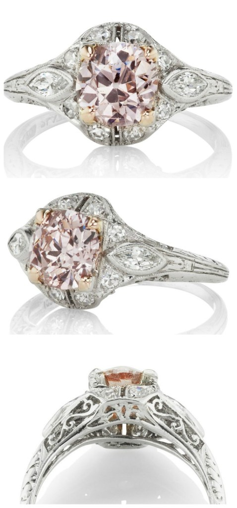 This Edwardian engagement ring, circa 1915, features a rare 1.50ct diamond of Fancy Brownish Pink color in a platinum setting with a marquise diamond to each side. From Victor Barbone.