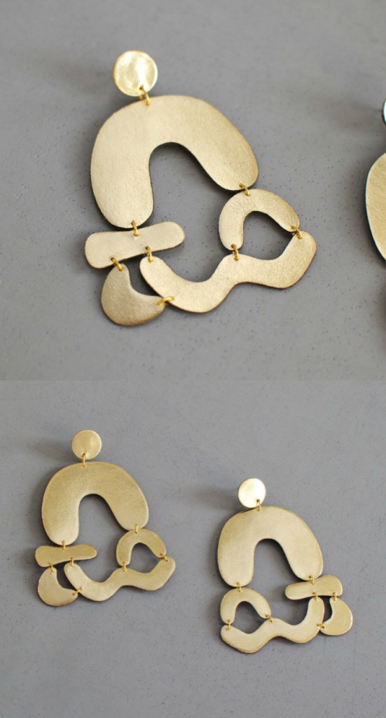 Arched abstract earrings by Bneu Made. These are made from gold leather, so they're light as a feather.