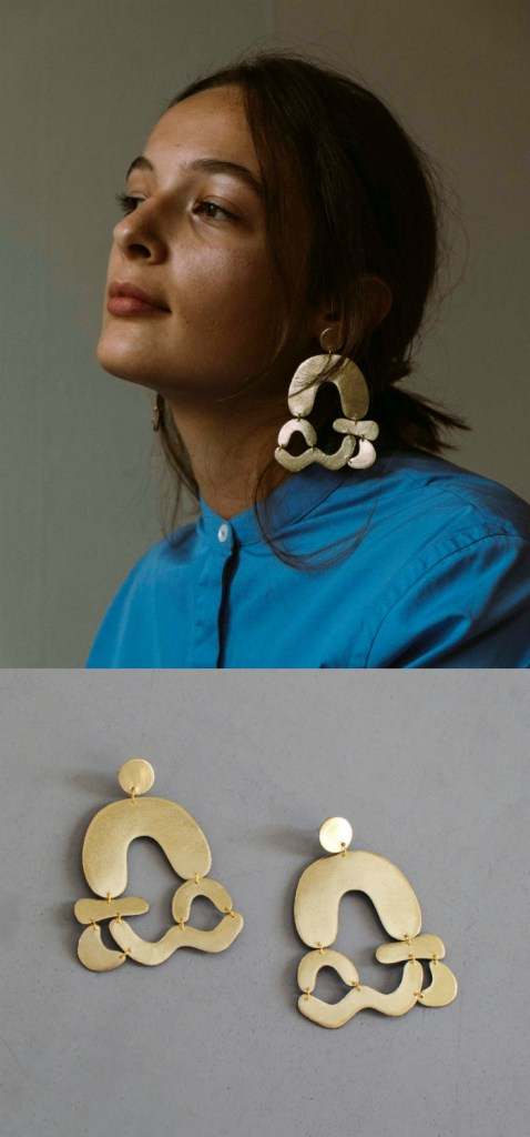 Arched abstract earrings in gold leather by Bneu Made! Such cool statement earrings.