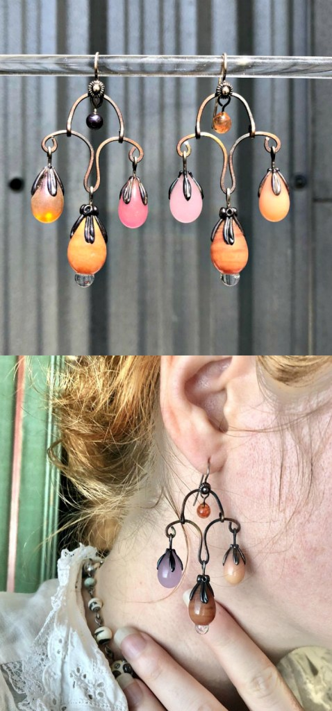 Coral pink and amber glass earrings by Alexis Berger. These statement earrings would be perfect Zoom jewelry!