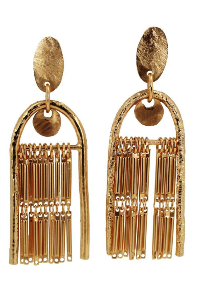 The Fringe Theory statement earrings by Lingua Nigra.