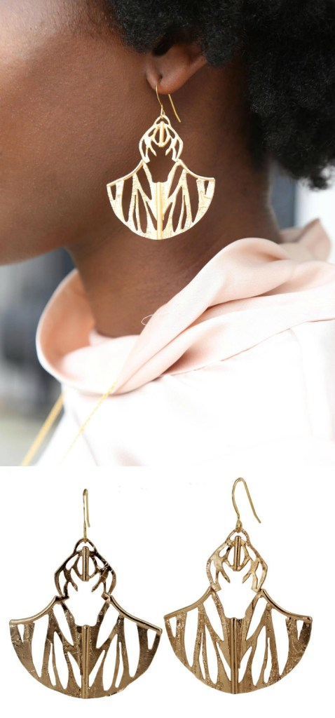 The beautiful Ultrasonic Flight statement earrings by Lingua Nigra