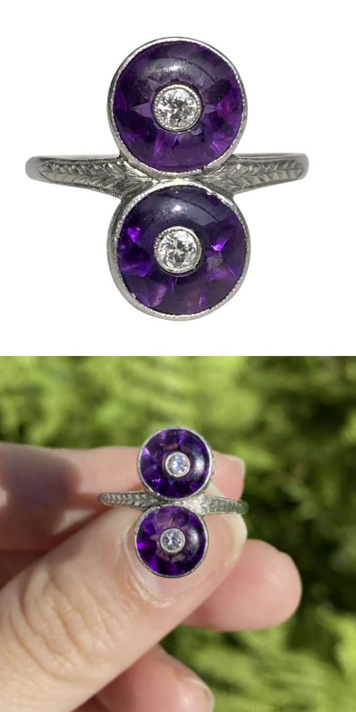 A beautiful Art Deco era amethyst ring with diamonds. From Alpha and Omega Vintage Jewelry on Ruby Lane.