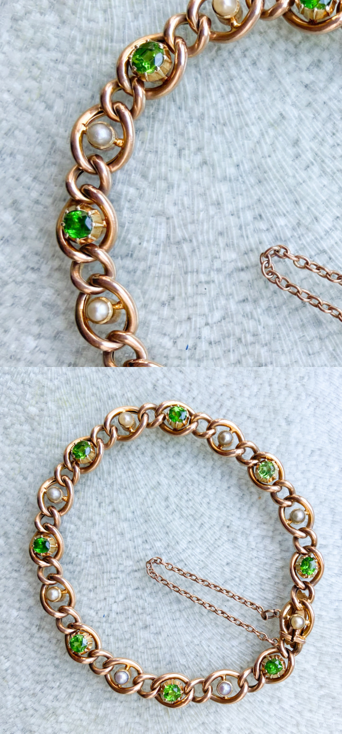 A beautiful antique bracelet in gold with demantoid garnets and pearls. From Audrey & Wolf vintage jewelry.