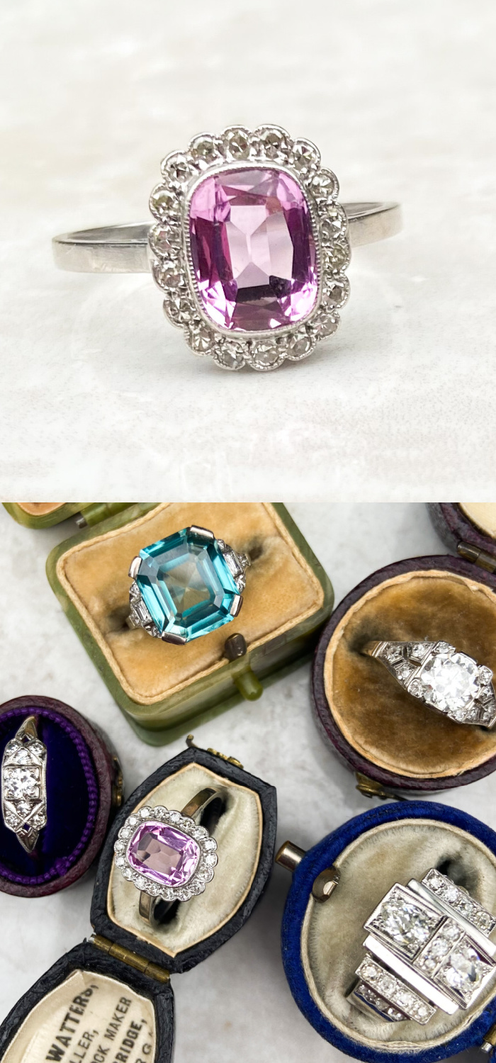 A beautiful antique pink topaz ring from the Art Deco era. From Audrey & Wolf vintage jewelry.