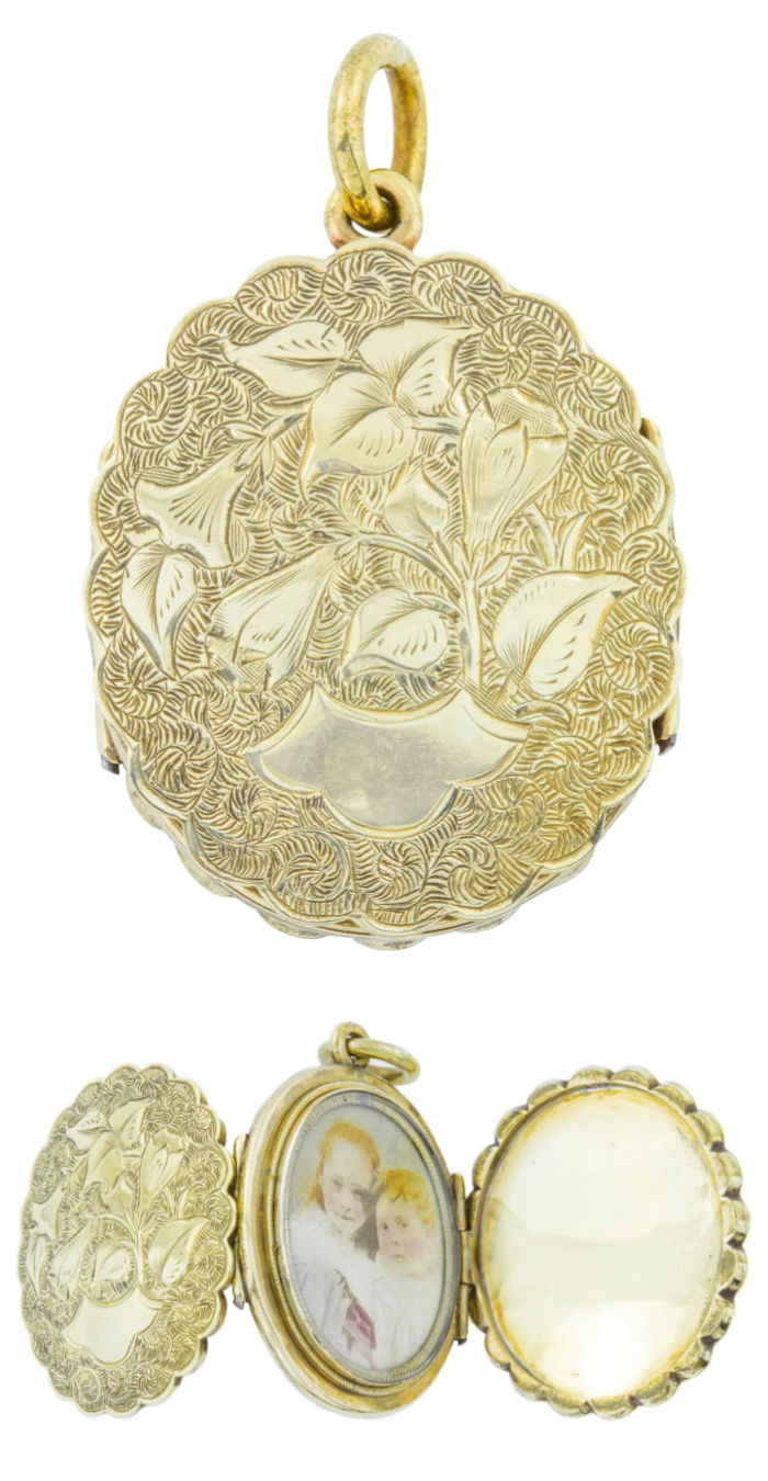 A beautiful engraved Victorian locket. Folds open into three sections to reveal a portrait and hair work. From Lillicoco on Ruby Lane.