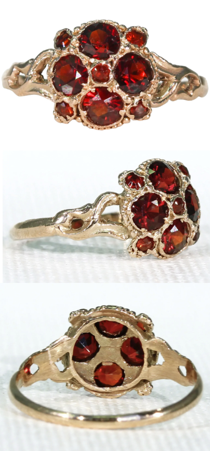 A lovely garnet ring from the Victorian era. English, circa 1880. From Victoria Sterling on Ruby Lane.