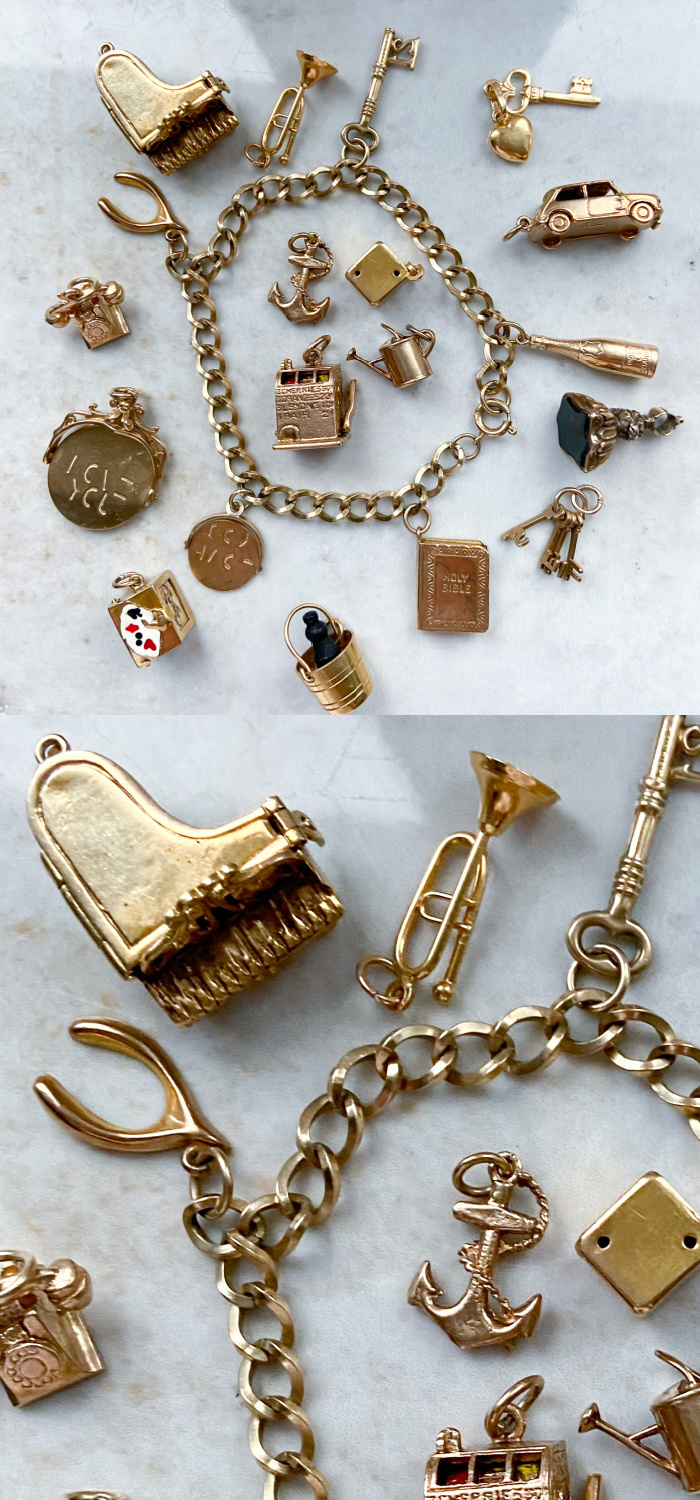 A selection of fantastic vintage charms all in gold. From Audrey & Wolf vintage jewelry.