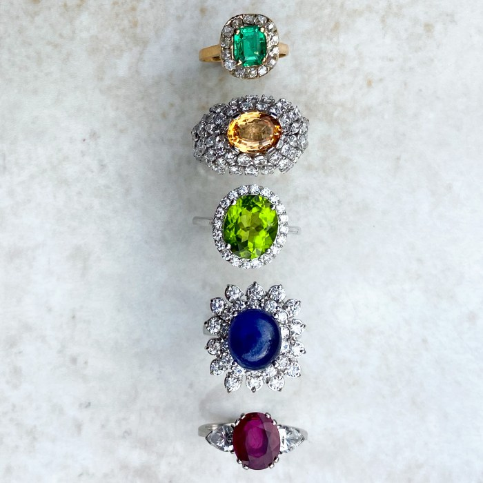 A vibrant selection of colored gemstone cocktail rings. From Audrey & Wolf vintage jewelry.