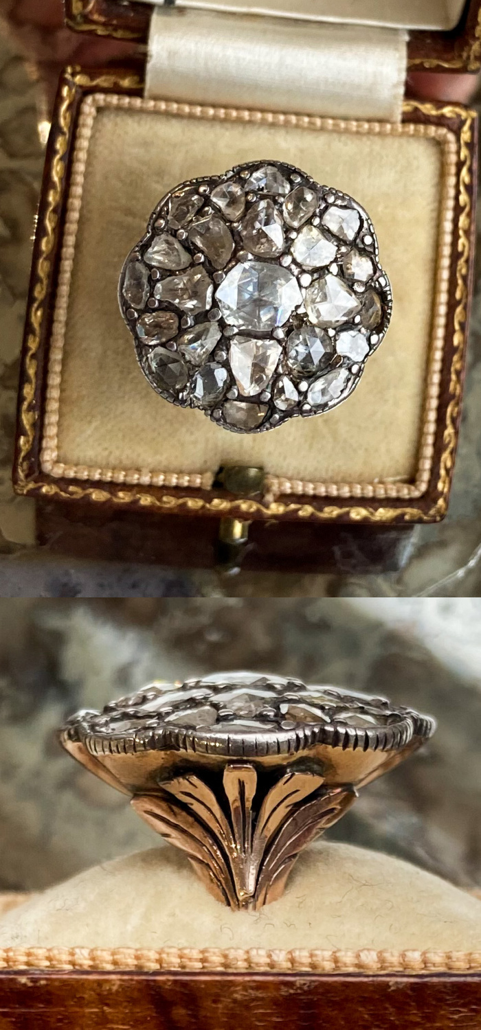An exceptional Georgian era rose cut diamond cluster ring from Audrey & Wolf vintage jewelry.