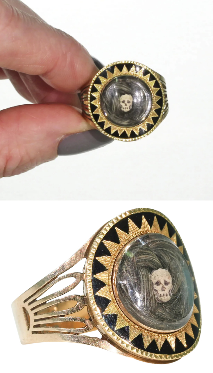 An exquisite Georgian era Memento Mori or mourning ring with hair and skull, circa 1780. From Victoria Sterling on Ruby Lane.