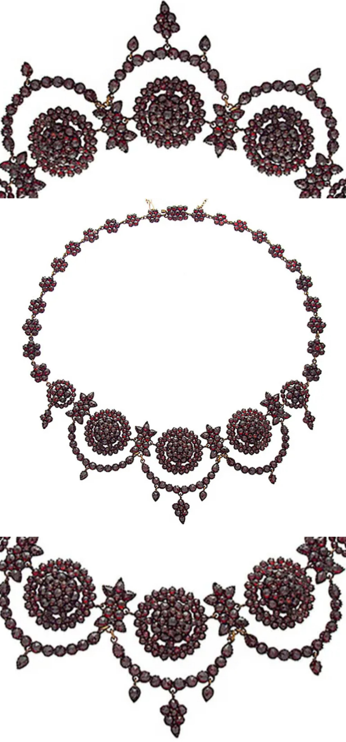 An exquisite antique Bohemian garnet necklace, circa 1850. From Multimedium on Ruby Lane.