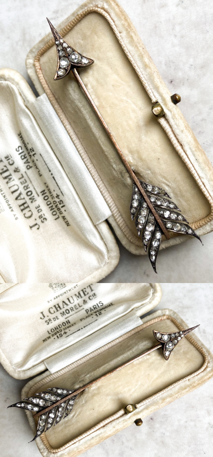 An exquisite antique arrow brooch in diamonds. From Audrey & Wolf vintage jewelry.