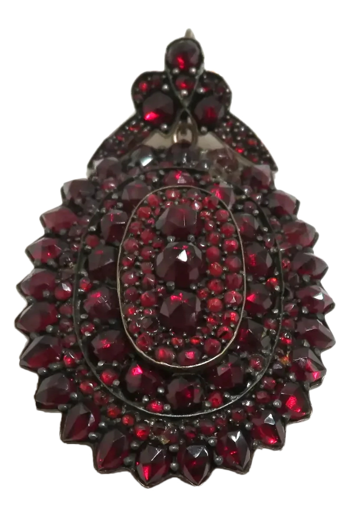 Antique Victorian era Bohemian garnet locket brooch. From Chippewa Lake Antiques on Ruby Lane.