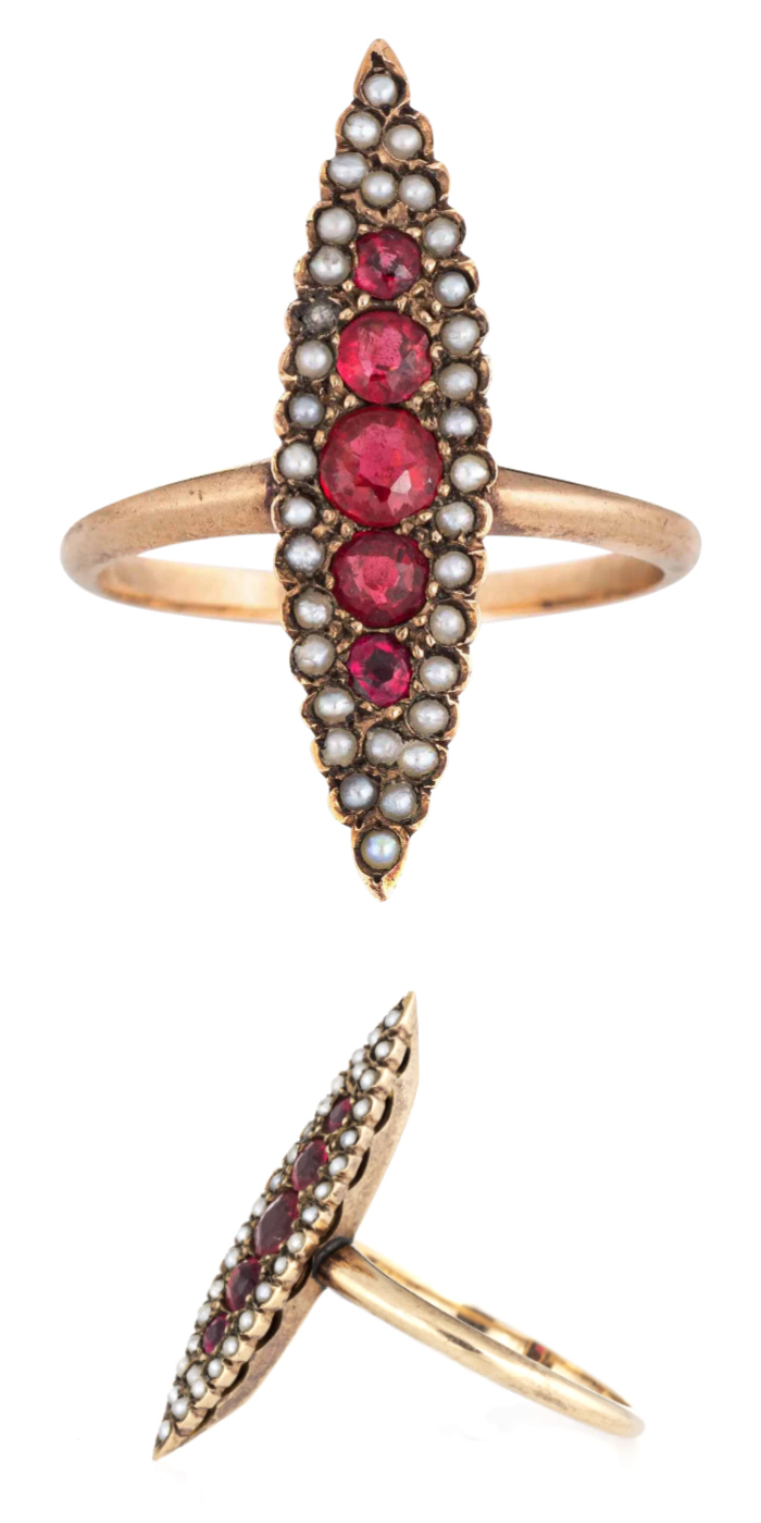 Antique Victorian ring with ruby doublet and pearls. Navette ring from Sophie Jane on Ruby Lane.