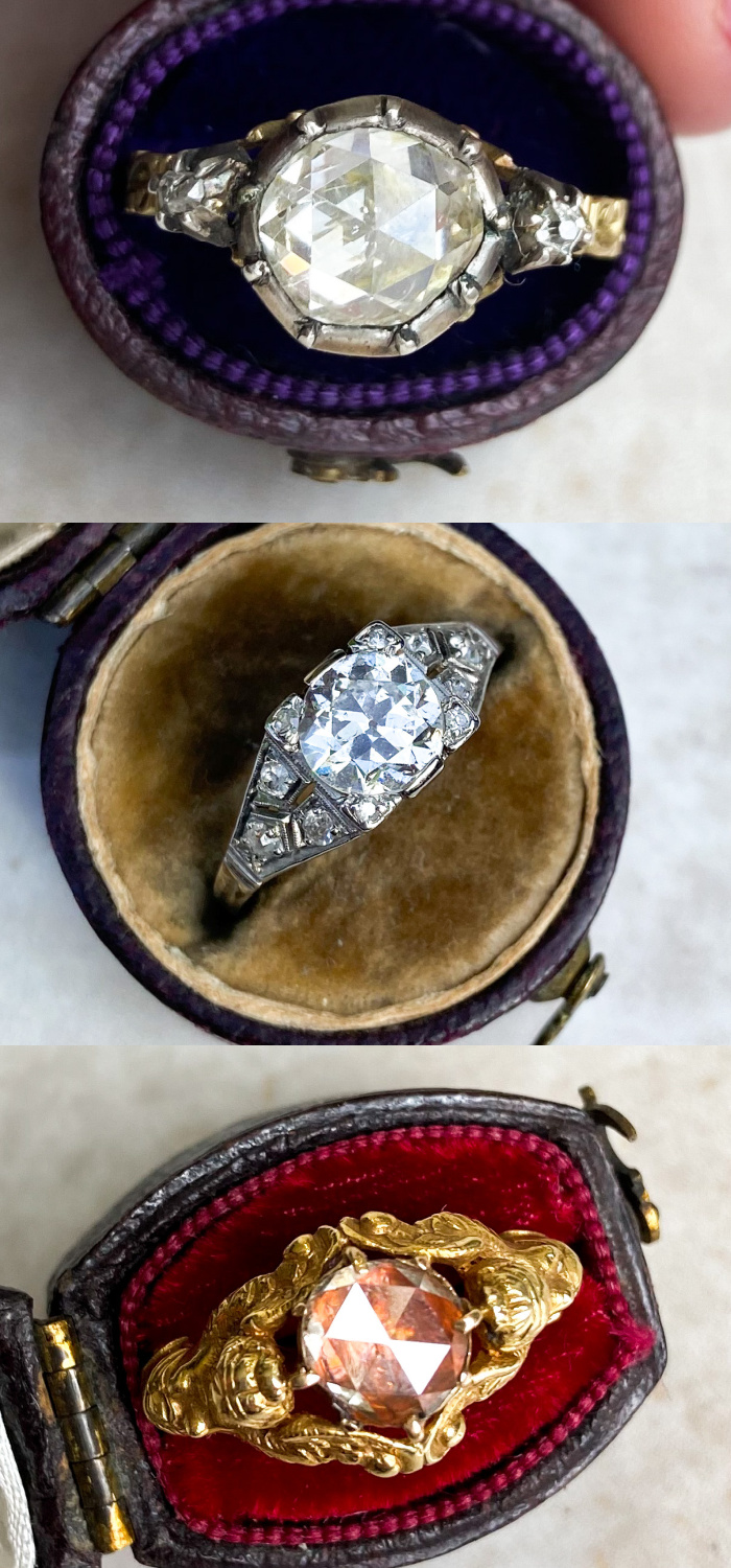 Antique diamond rings from Audrey & Wolf. Two rose cut diamonds and an Old European cut diamond. Stunning antique engagement rings!