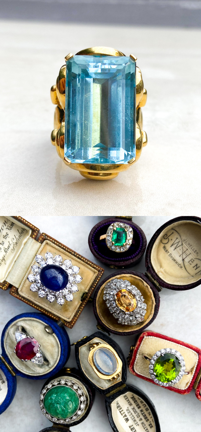 Antique shop Audrey & Wolf has a special love for colored gemstone rings, like this spectacular vintage aquamarine.
