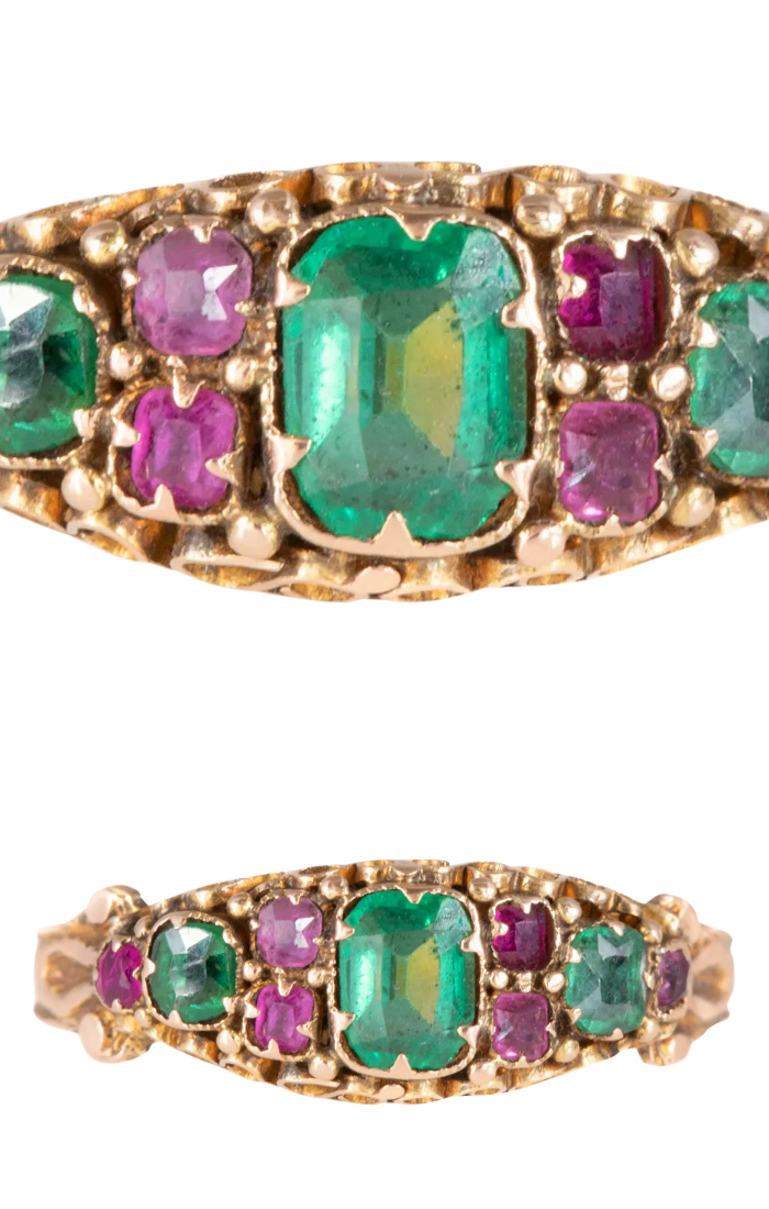 Antique emerald and ruby paste ring in gold from Lillicoco on Ruby Lane.