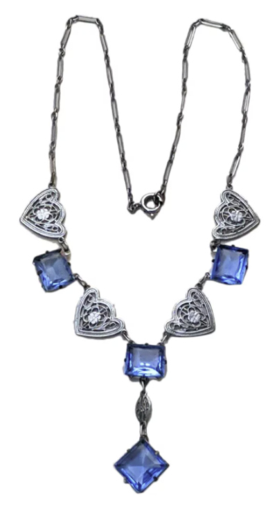 Art Deco era filigree necklace with blue glass. From Shorti Eclectiques on Ruby Lane.