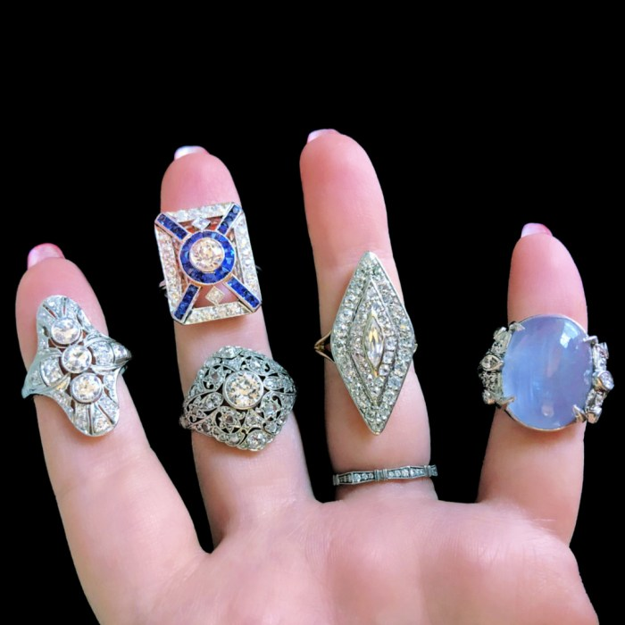 Stunning antique Art Deco and Edwardian era rings from Wilson's Estate Jewelry. With diamonds and sapphires.