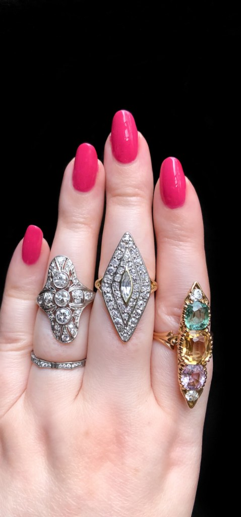Three stunning antique navette rings from Wilson's Estate Jewelry. Art Deco, Edwardian, and Victorian.