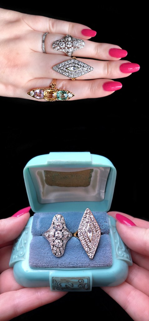 Two antique diamond dinner rings from Wilson's Estate Jewelry. One is Art Deco era, the other is Edwardian.
