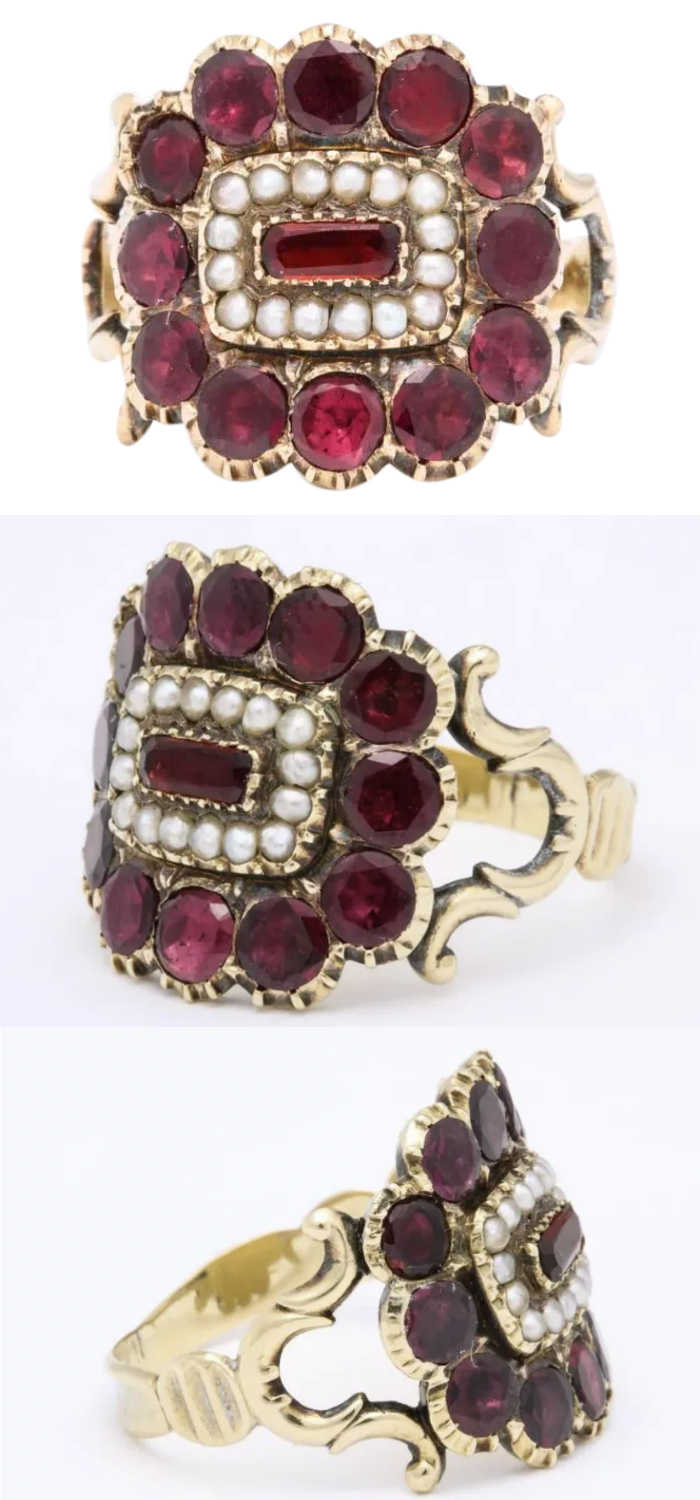 Victorian Regency era garnet ring with pearls. From Glorious Antique Jewelry on Ruby Lane.