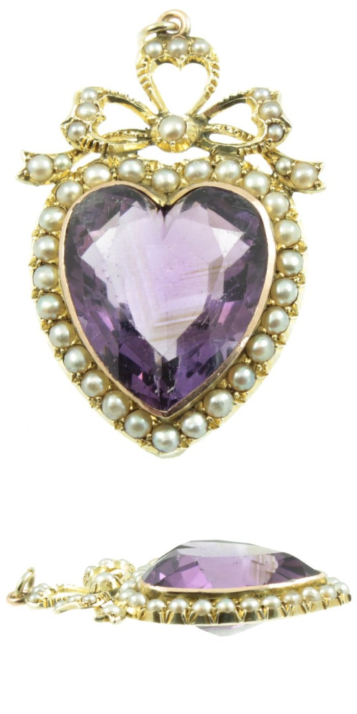 Antique Edwardian era amethyst and pearl heart pendant. From Carus Jewellery.