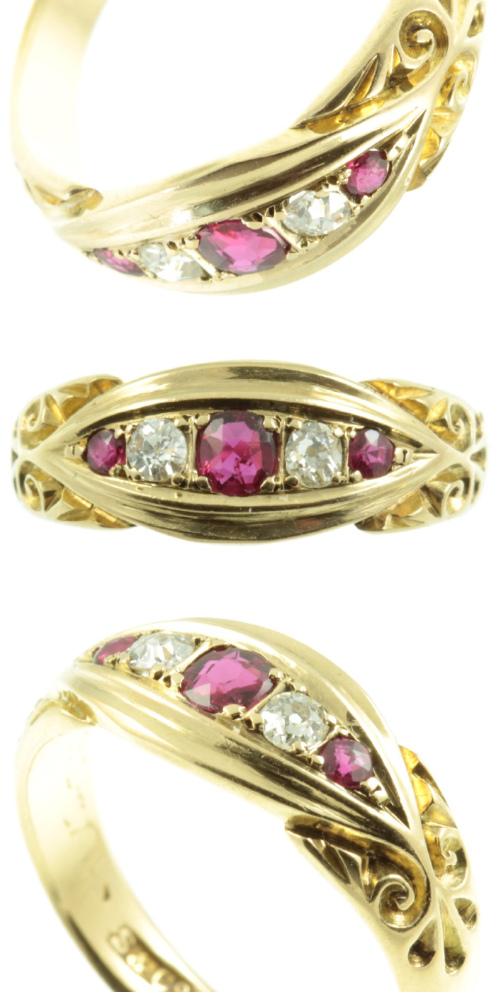 Antique Edwardian era ruby and diamond ring. From Carus Jewellery.
