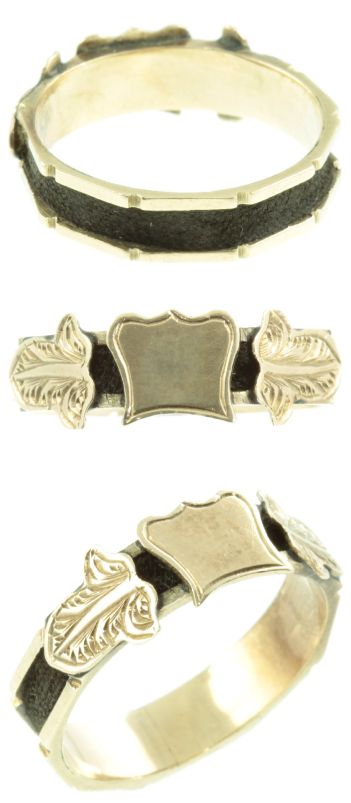 Antique Victorian era mourning ring in gold with woven hair detail. From Carus Jewellery.