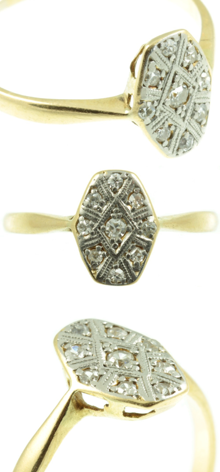 Art Deco diamond ring in gold. From Carus Jewellery.
