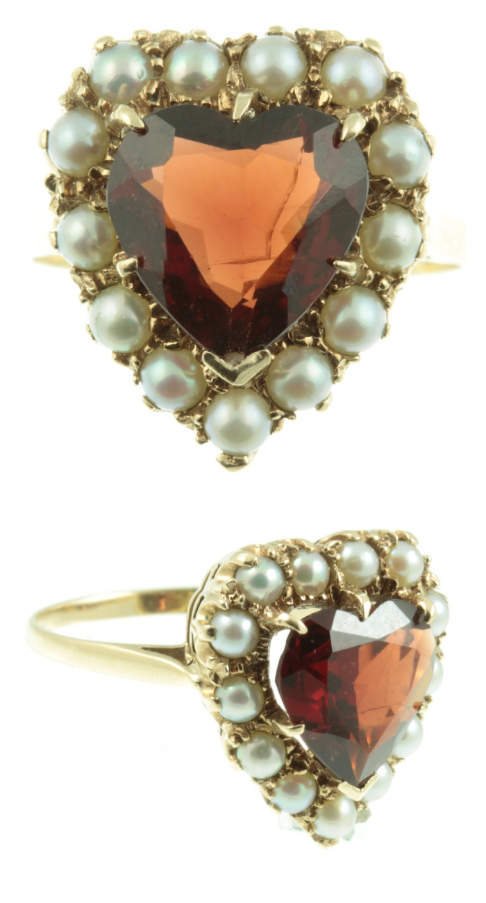 Edwardian era garnet heart ring with pearls. From Carus Jewellery.
