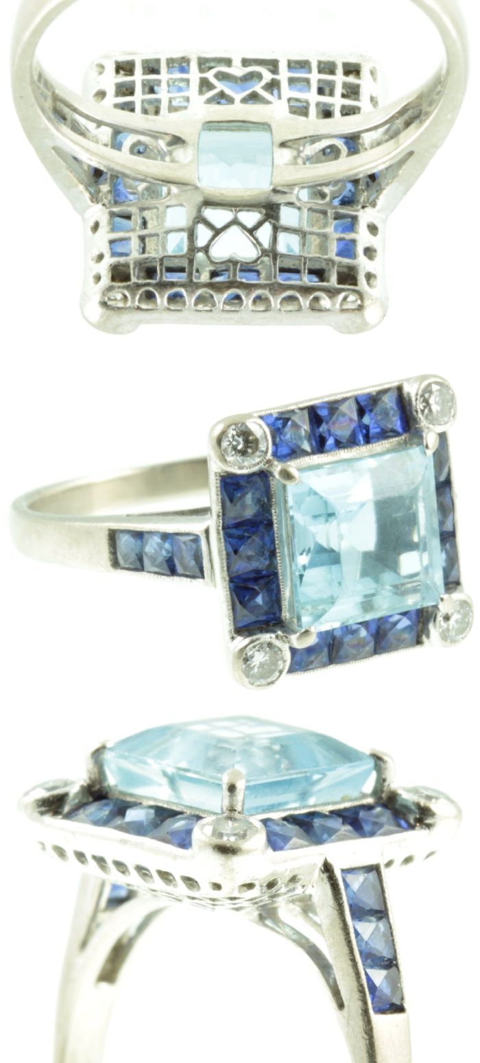 I love the details of this remarkable ring! Sapphies, diamonds, and aquamarine. From Carus Jewellery.