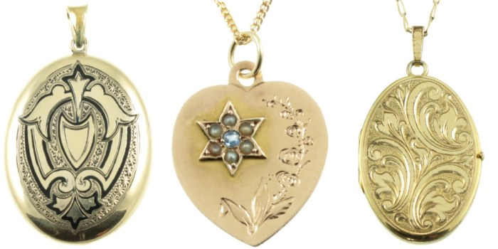 Lockets and a pendant from Carus Jewellery. All gold, from the Edwardian, Art Deco, and Victorian eras.