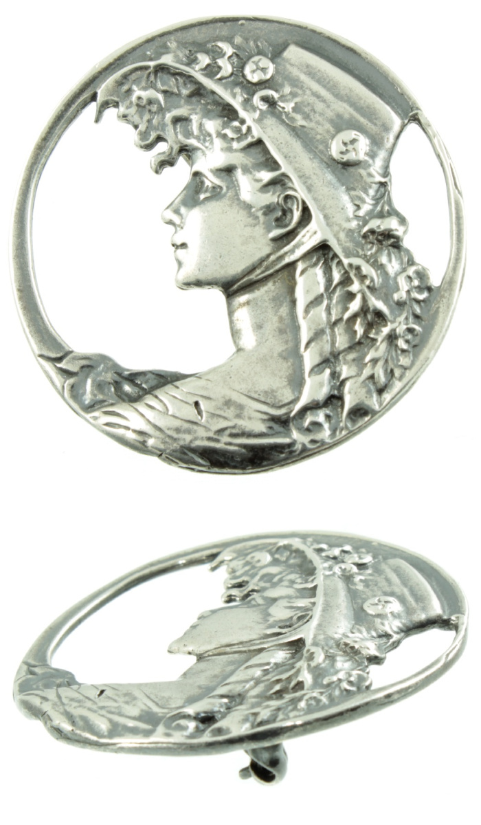 Silver brooch from the Art Nouveal era. From Carus Jewellery.