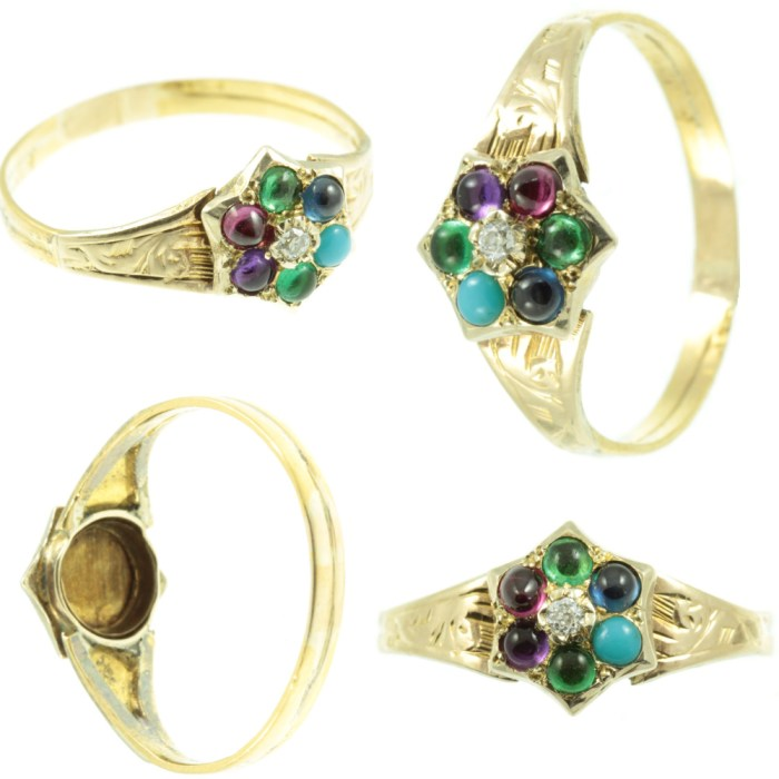 This rare antique acrostic ring dates to the Georgian era. Its gemstones spell out the word DEAREST. From Carus Jewellery.