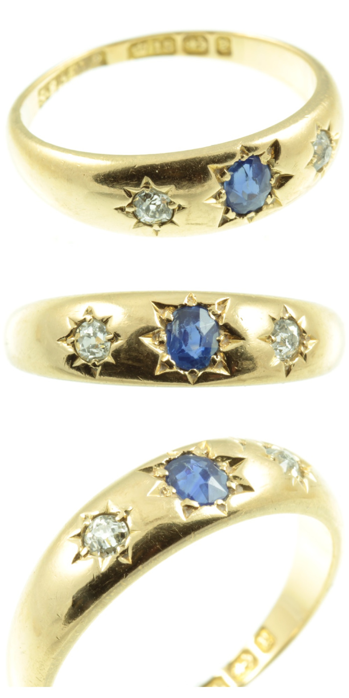 Victorian era sapphire and diamond ring in gold. This style is sometimes called a gypsy ring. From Carus Jewellery.