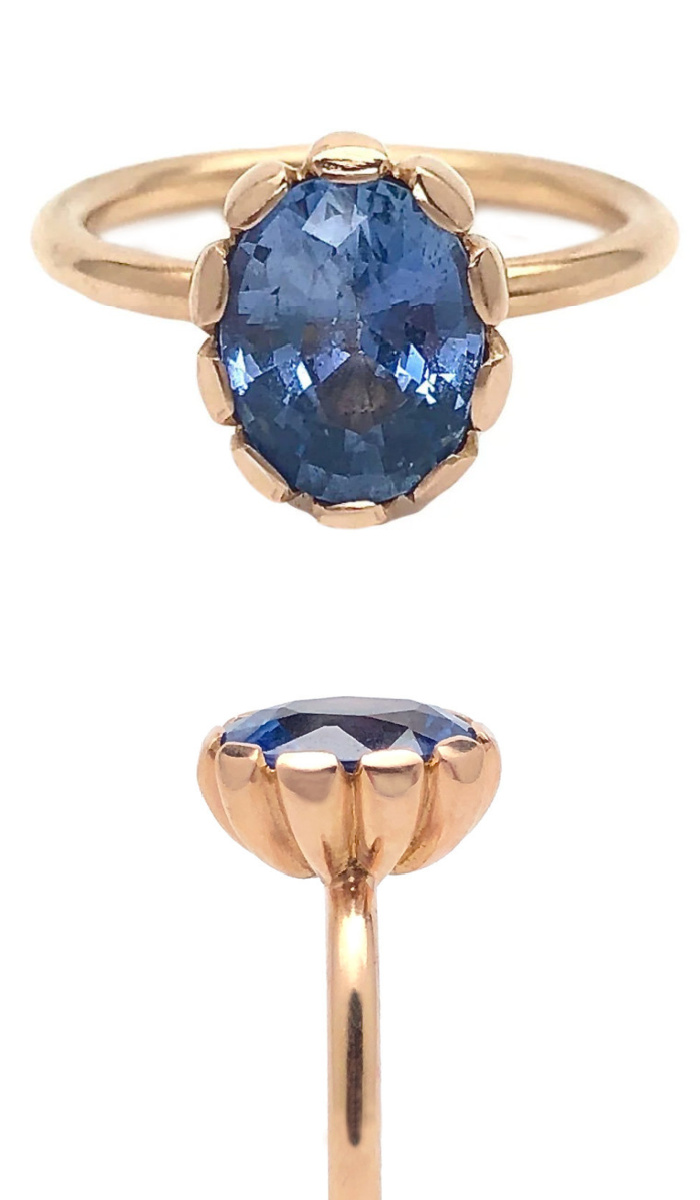 A beautiful rose gold and blue sapphire ring by Rachel Beck. At Space 85.
