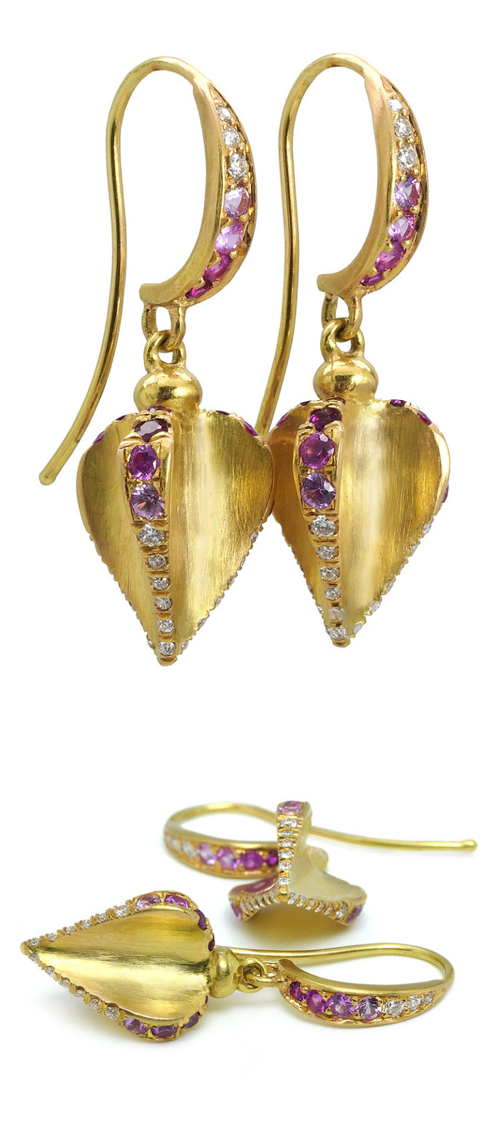 Angelica Cammarota earring with rubies, sapphires, and diamonds.
