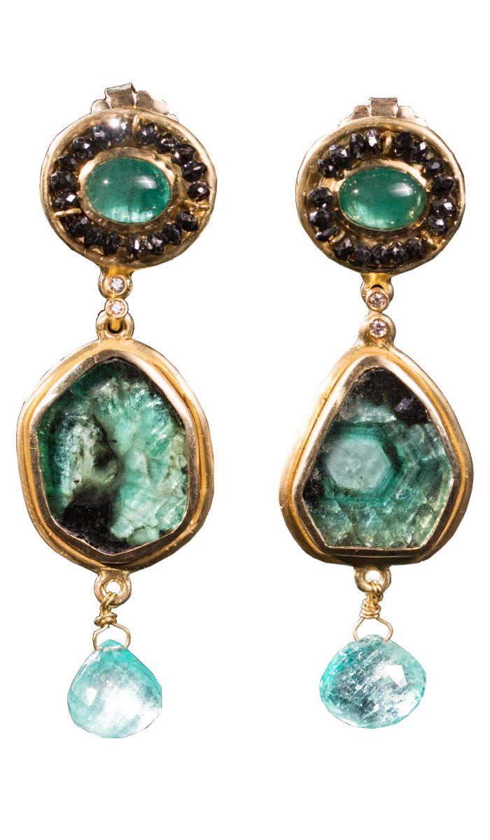 Emerald and black diamond earrings by Taryn Leavitt. Available at Space 85.