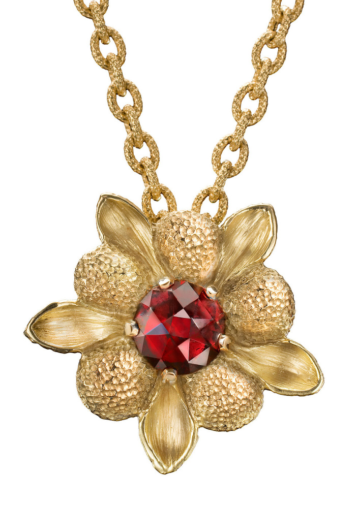 Garnet Dahlia flower pendant by Lori Anne. From Space 85.