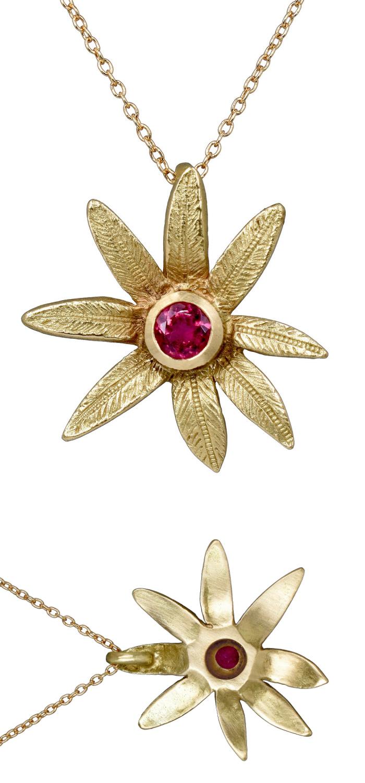 Rubellite tourmaline flower pendant by Sandrine B Jewelry.