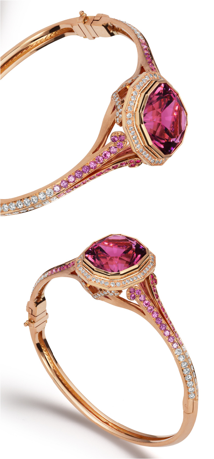 The beautiful Victoria Bracelet by Alexia Connellan, side view. With pink tourmaline, diamonds, and pink sapphires.