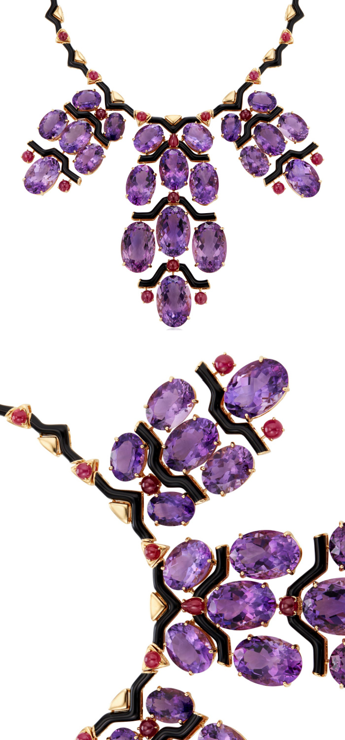 A stunning necklace by Michele della Valle with amethyst, round cabochon rubies, black enamel, and 18k yellow gold.
