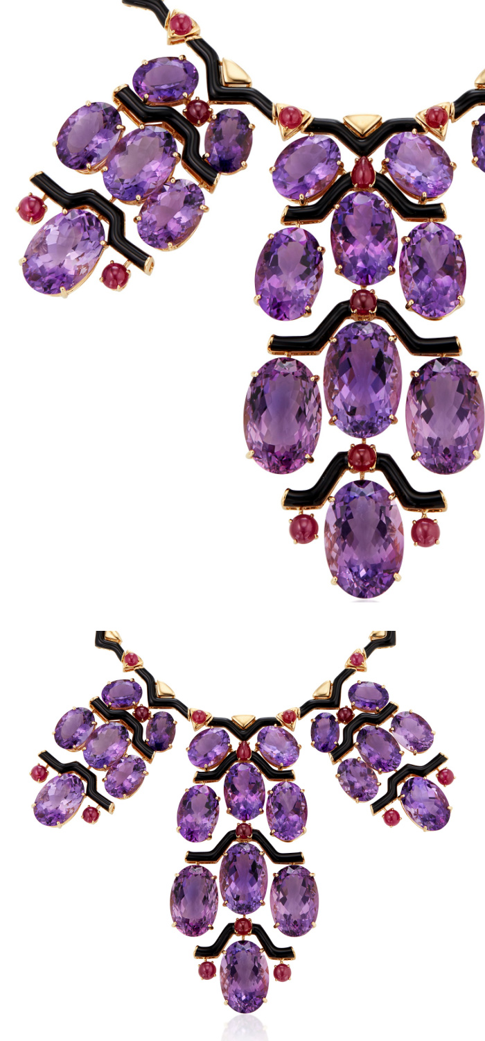 An incredible necklace by Michele della Valle with amethyst, round cabochon rubies, black enamel, and 18k yellow gold.