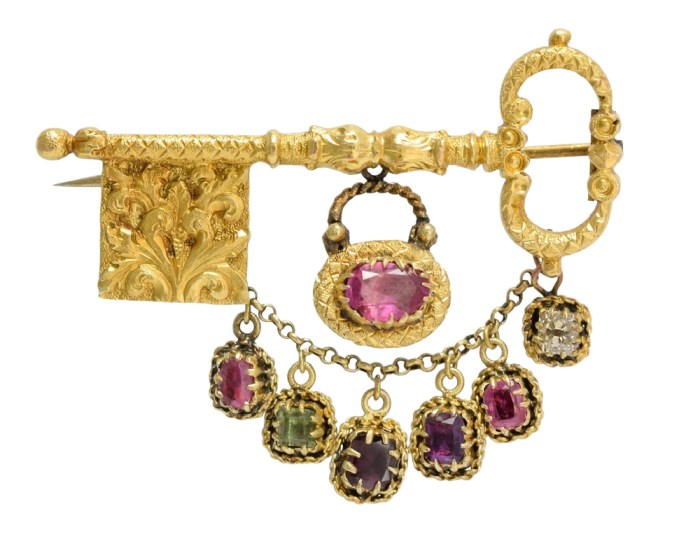 Antique Georgian era brooch with acrostic gems that spell regard, an elaborate key and lock, and hair compartment. Circa 1800, from Butter Lane Antiques.