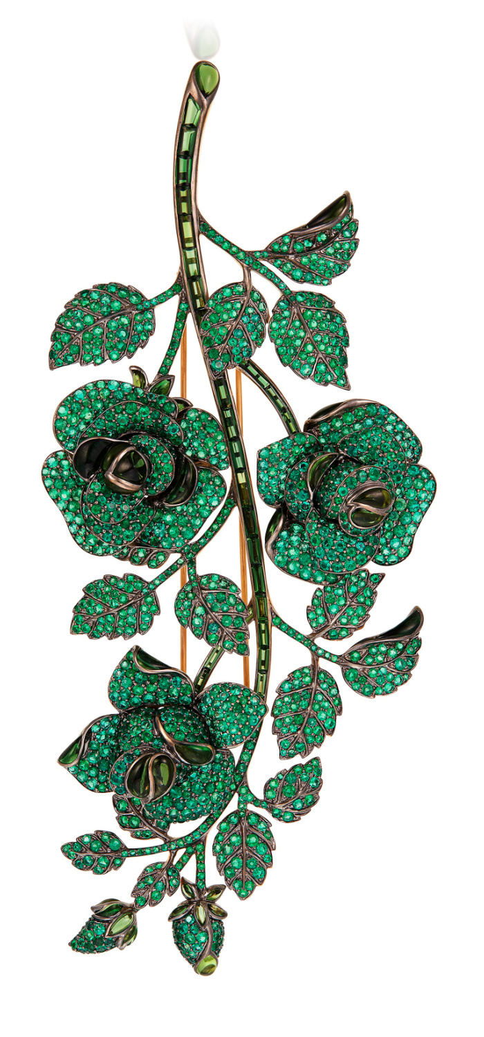 Green floral brooch by Michele della Valle with emeralds and tourmaline.