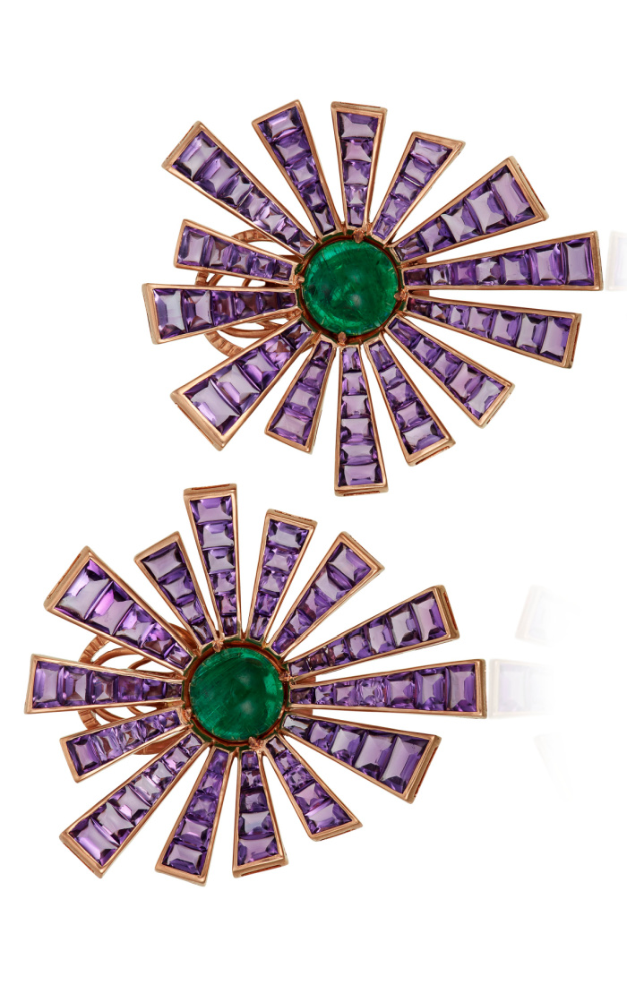 Michele della Valle earrings with buff-top amethyst, round emerald cabochon, and 18k rose gold.