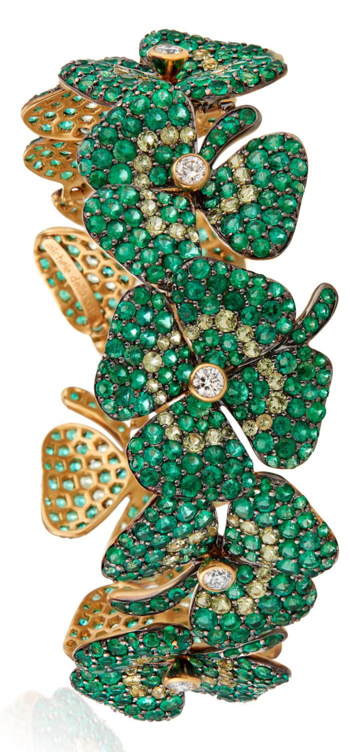 Michele della Valle four leaf clover bracelet with emeralds, peridots and diamonds in 18k yellow gold. Shamrock jewelry at its finest!