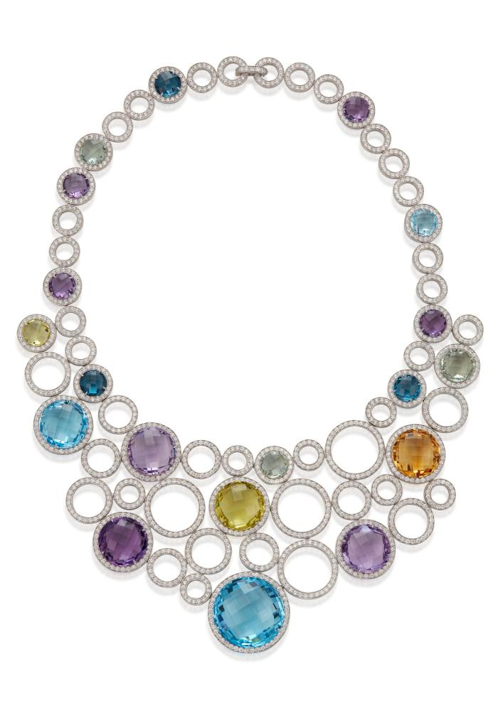 Michele della Valle necklace with blue topaz, amethyst, prasiolite, citrine and lemon quartz, round diamonds in 18k white gold.